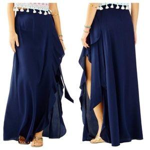 Lilly Pulitzer Berdine Wrap Ruffle Maxi Skirt